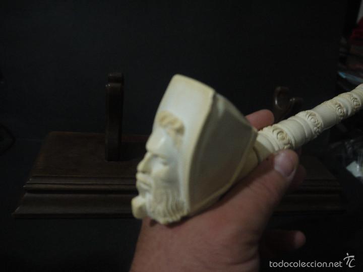 Pipas de fumar: EXTRAORDINARIA PIPA TURCADE ESPUMA DE MAR O SEPIOLITA ARTESANAL, CON SOPORTE EN MADERA NOBLE. - Foto 5 - 56555233