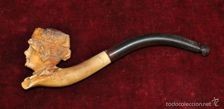 ANTIGUA PIPA EN ESPUMA DE MAR DEL ULTIMO TERCIO DEL SIGLO XIX. CON SU FUNDA CORRESPONDIENTE (Coleccionismo - Objetos para Fumar - Pipas)