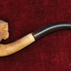 Pipas de fumar: ANTIGUA PIPA EN ESPUMA DE MAR DEL ULTIMO TERCIO DEL SIGLO XIX. CON SU FUNDA CORRESPONDIENTE. Lote 58391929
