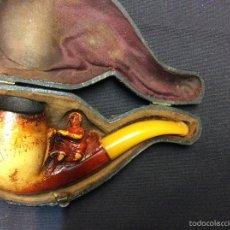Pipas de fumar: ANTIGUA PIPA DE ESPUMA DE MAR Y AMBAR.. Lote 58536656