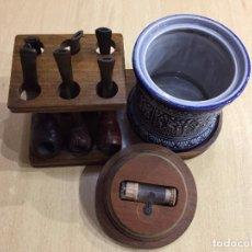Pipas de fumar: JUEGO DE TABACO CON SEIS PIPAS. Lote 76929081