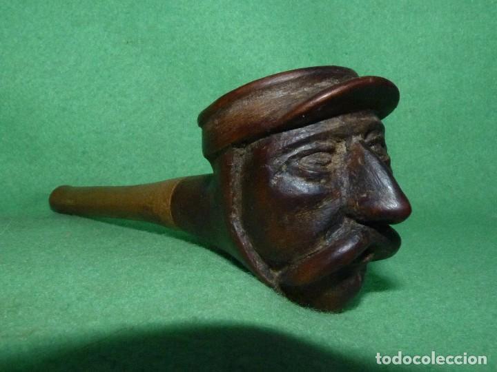 GENIAL PIPA DE FUMAR ANTIGUA CABEZA BIGOTUDO TALLADA TODO MADERA COMPLETAMENTE ARTESANAL GORRA (Coleccionismo - Objetos para Fumar - Pipas)