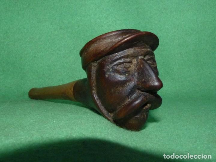 Pipas de fumar: Genial pipa de fumar antigua cabeza bigotudo tallada todo madera completamente artesanal gorra - Foto 2 - 81254112