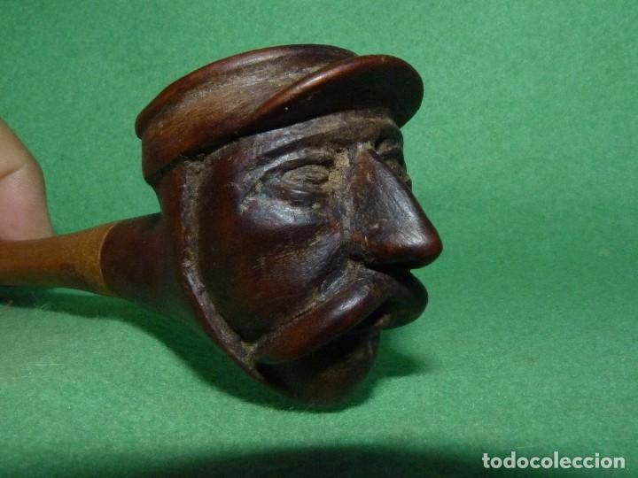 Pipas de fumar: Genial pipa de fumar antigua cabeza bigotudo tallada todo madera completamente artesanal gorra - Foto 3 - 81254112
