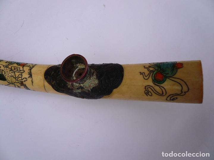 Pipas de fumar: ANTIGUA PIPA DE OPIO DE HUESO GRABADA Y PINTADA - 33 CMS - Foto 7 - 88092324