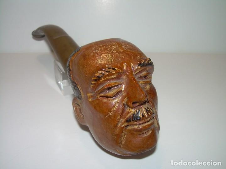 ANTIGUA PIPA TALLADA EN MADERA..BRUYERE...NUEVA SIN HABER SIDO USADA. (Coleccionismo - Objetos para Fumar - Pipas)