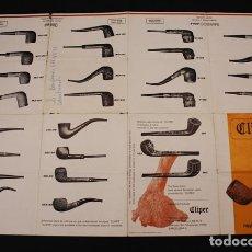 Pipas de fumar: RARO FOLLETO CATALOGO DE PIPAS MANUFACTURAS CLIPER ¿1973? 33 X 48,50 DESPLEGADO, PIPA FUMAR TABACO. Lote 110018428