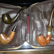 Pipas de fumar: ESTUCHE CON 3 PIPAS DE MADERA, DIFERENTES MODELOS. Lote 101520939