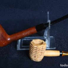 Pipas de fumar: PIPA MADERA Y PIPA MAZORCA MAIZ. Lote 104768979