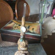 Pipas de fumar: PIPA O CACHIMBA ARTESANAL HECHA CON LÁMPARA-BOMBILLA CRISTAL CUERO Y PEDRERIA VER FOTOS. Lote 131220707
