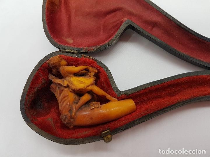 IMPRESIONANTE PIPA FRANCESA DEL SIGLO XIX BELLAMENTE TALLADA EN ESPUMA DE MAR CON FORMA DE BAILARINA (Coleccionismo - Objetos para Fumar - Pipas)