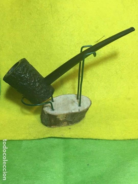 POKER RUSTICADA NEGRA - CAZOLETA FORRADA- ANTIGUA (Coleccionismo - Objetos para Fumar - Pipas)