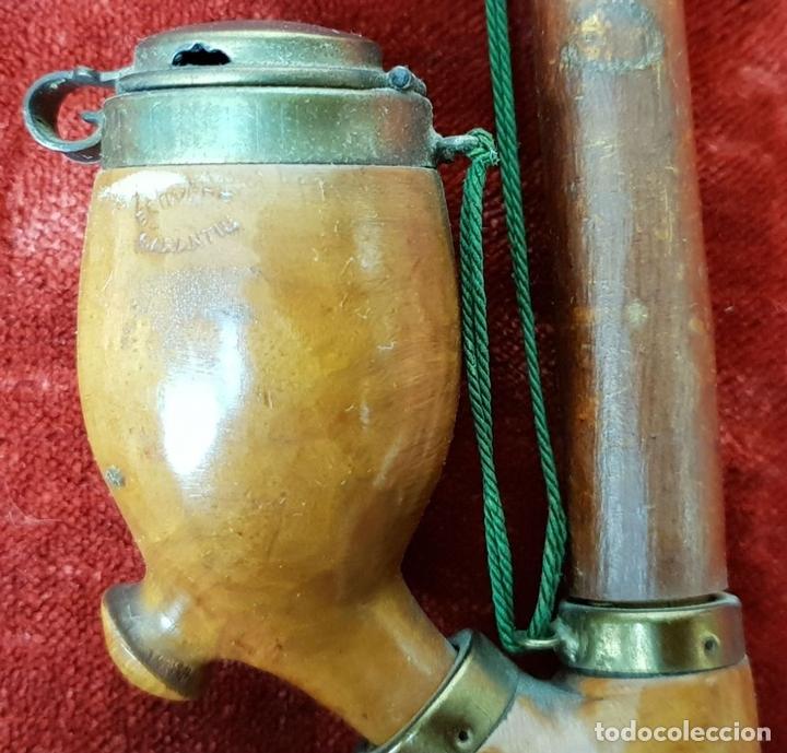 Pipas de fumar: PIPA PARA FUMAR DE 3 CUERPOS. MADERA DE BREZO TALLADA. CIRCA 1970. - Foto 2 - 148770146