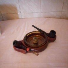 Pipas de fumar: PORTA PIPAS DE MADERA CON CENICERO DE CRISTAL Y 2 PIPAS.RED BRIAR LONDON STYLL Y BUTS. CHOQUIM. Lote 163188798