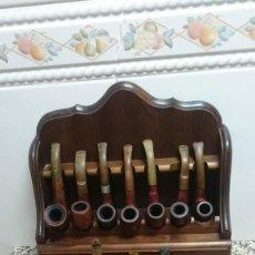 Pipas de fumar: COLECCION DE 13 PIPAS DIFERENTES CON EXPOSITORES VER FOTOS. Lote 165749298
