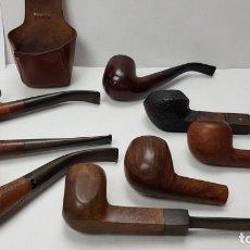 Pipas de fumar: LOTE COLECCION DE 8 PIPAS, VARIAS MARCAS USADAS , BRUKEN , CORAL, GRAVINA, REAL BRIAR Y PORTAPIPAS . Lote 167320828