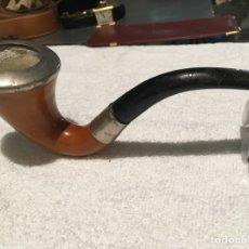 Pipas de fumar: DIVINA PIPA INGLESA DE PLATA SELLADA MODELO SHERLOCK HOLMES. Lote 174524670