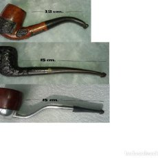 Pipas de fumar: LOTE 3 PIPAS + PORTAPIPA. Lote 185891110