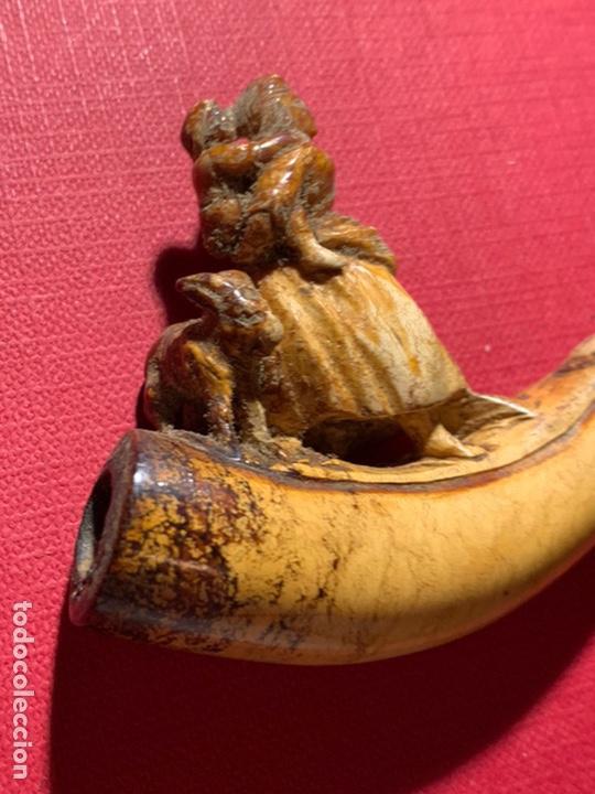 Pipas de fumar: Magnífica pipa de espuma de mar. S XIX. Le falta la parte superior de su cajita - Foto 17 - 189816957