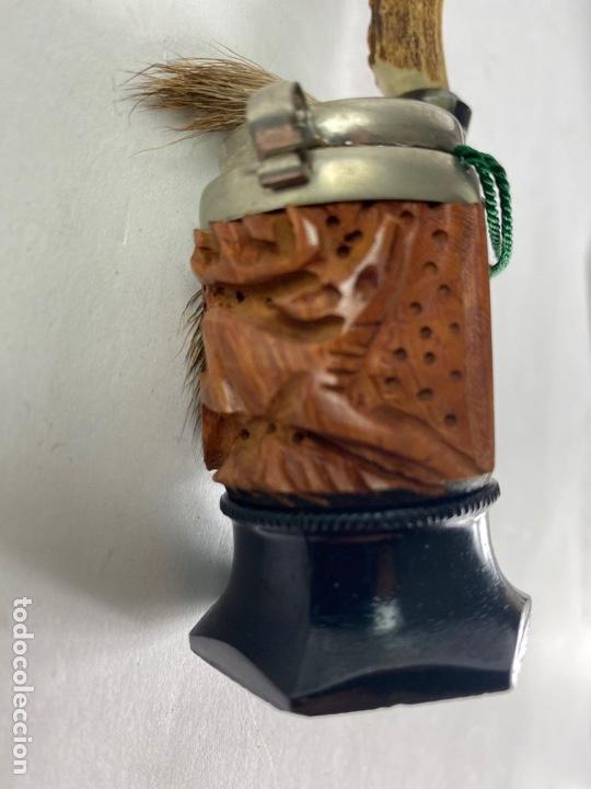 Pipas de fumar: PIPA DE MADERA TALLADA Y ASTA. MEDIADOS S.XX. - Foto 3 - 212052172
