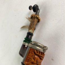 Pipas de fumar: PIPA DE MADERA TALLADA Y ASTA. MEDIADOS S.XX.. Lote 212052172