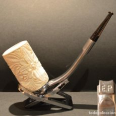 Pipas de fumar: PIPA DE ESPUMA DE MAR Y CAÑA DE PLATA EP NUEVA SIN USO. Lote 217766496