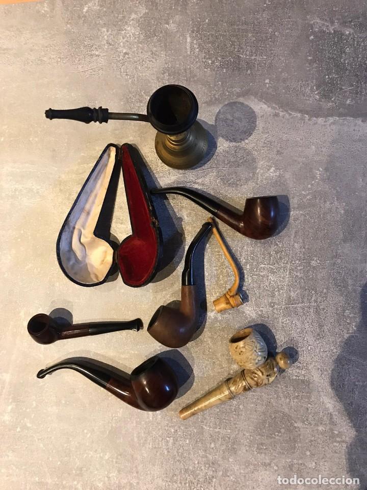 LOTE DE 7 PIPAS Y 1 FUNDA DE FUMAR, PIPA DE AGUA ARGUILA, BAMBU, MARMOL, MARCAS ADYIN, ACIRE, COGAR (Coleccionismo - Objetos para Fumar - Pipas)