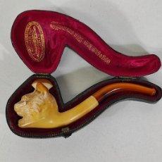 Pipas de fumar: ANTIGUA PIPA J.SOMMER - CABEZA DE GATO, TALLA EN ESPUMA DE MAR - CON ESTUCHE. Lote 236195680