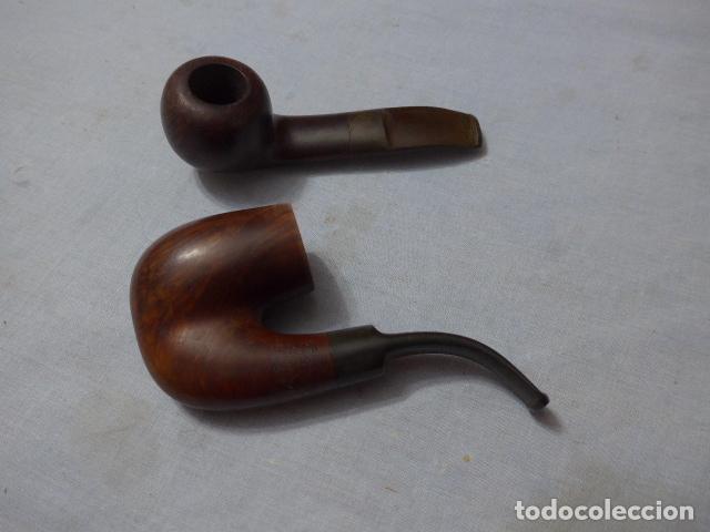 * LOTE 2 ANTIGUAS PIPAS DE FUMAR CON MARCAS, VER FOTOS, ORIGINALES. ZX (Coleccionismo - Objetos para Fumar - Pipas)