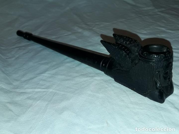 Pipas de fumar: Bella antigua pipa de madera tallada Buda 25cm - Foto 4 - 246975650