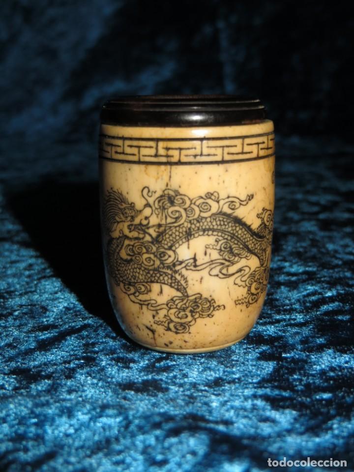 Pipas de fumar: Antigua pipa opio china Asia oriental hueso madera grabados dragón símbolos - Foto 7 - 258246445
