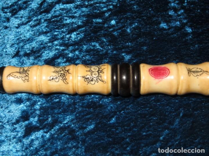 Pipas de fumar: Antigua pipa opio china Asia oriental hueso madera grabados dragón símbolos - Foto 12 - 258246445