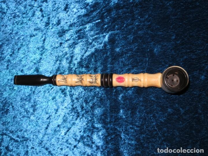 Pipas de fumar: Antigua pipa opio china Asia oriental hueso madera grabados dragón símbolos - Foto 16 - 258246445