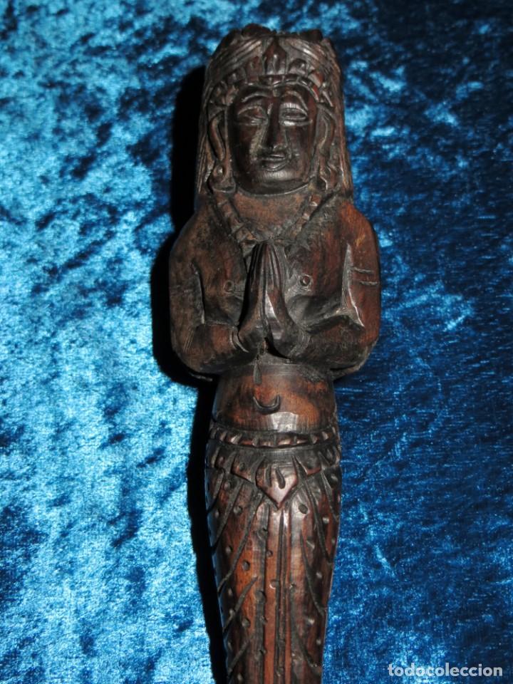 Pipas de fumar: Antigua pipa opio madera tallada doble busto cara Tailandia Asia Bali India Hindú diosa mujer - Foto 4 - 258266245