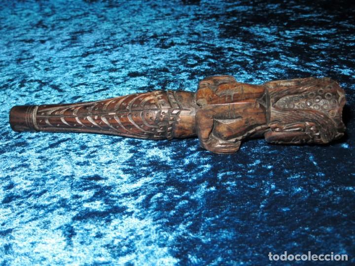 Pipas de fumar: Antigua pipa opio madera tallada doble busto cara Tailandia Asia Bali India Hindú diosa mujer - Foto 6 - 258266245