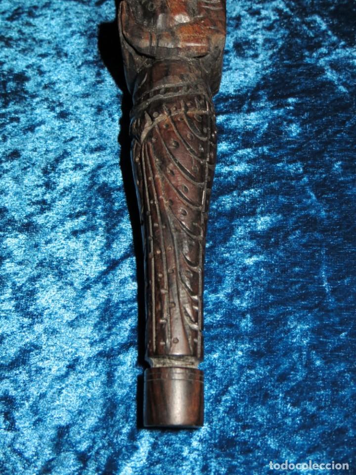 Pipas de fumar: Antigua pipa opio madera tallada doble busto cara Tailandia Asia Bali India Hindú diosa mujer - Foto 13 - 258266245