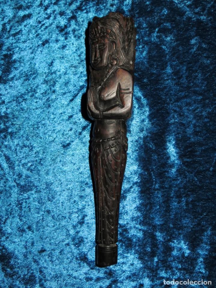 Pipas de fumar: Antigua pipa opio madera tallada doble busto cara Tailandia Asia Bali India Hindú diosa mujer - Foto 15 - 258266245