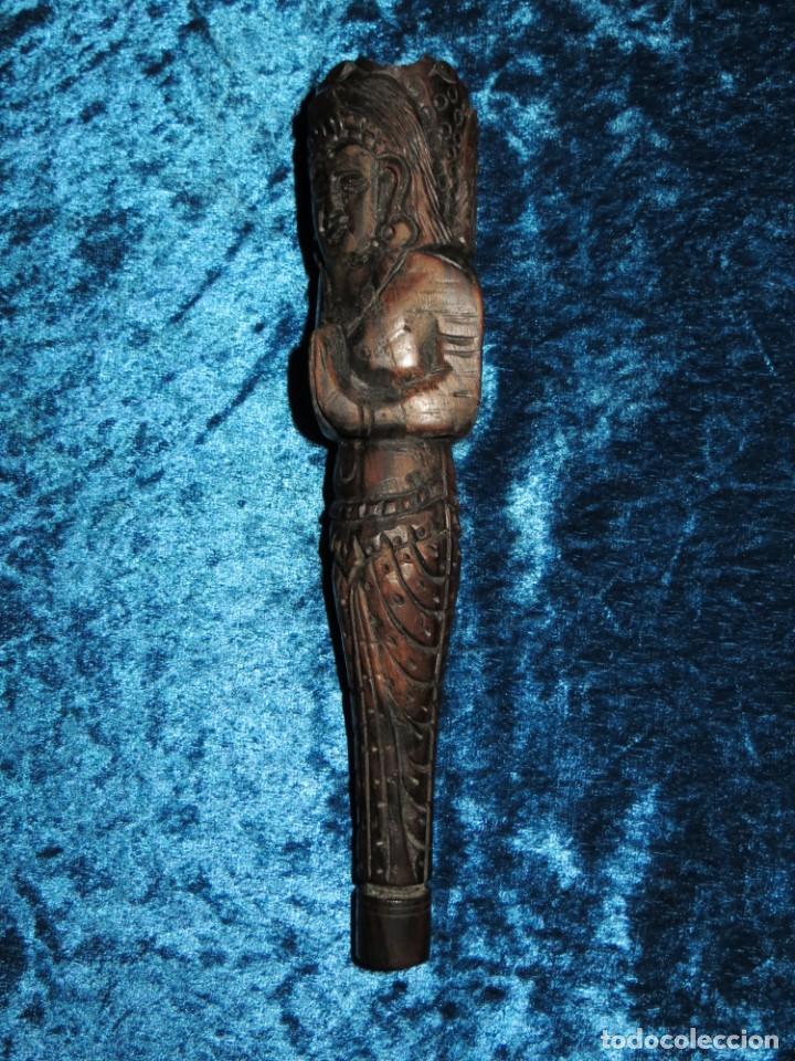 Pipas de fumar: Antigua pipa opio madera tallada doble busto cara Tailandia Asia Bali India Hindú diosa mujer - Foto 20 - 258266245