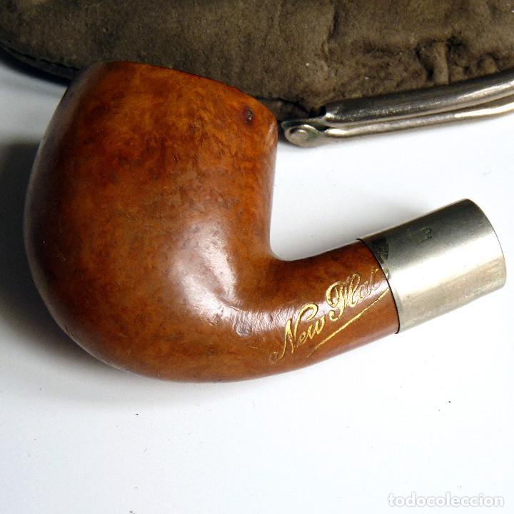 PIPA ANTIGUA NEW FLAT EN ESTUCHE DE PIEL SIN BOQUILLA - MUY UTILIZADA - COLECCIONISTAS (Coleccionismo - Objetos para Fumar - Pipas)