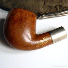 Pipas de fumar: PIPA ANTIGUA NEW FLAT EN ESTUCHE DE PIEL SIN BOQUILLA - MUY UTILIZADA - COLECCIONISTAS. Lote 260078400