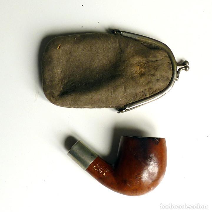 Pipas de fumar: PIPA ANTIGUA NEW FLAT EN ESTUCHE DE PIEL SIN BOQUILLA - MUY UTILIZADA - COLECCIONISTAS - Foto 2 - 260078400