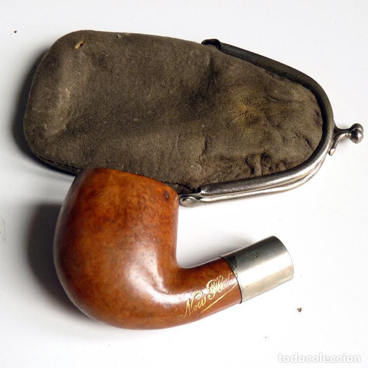 Pipas de fumar: PIPA ANTIGUA NEW FLAT EN ESTUCHE DE PIEL SIN BOQUILLA - MUY UTILIZADA - COLECCIONISTAS - Foto 3 - 260078400