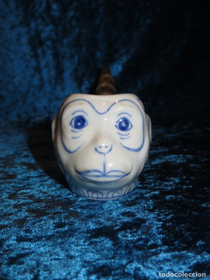 Pipas de fumar: Antigua pipa opio china oriental Asia porcelana cerámica mono metal repujado artesanal 25 cm s. XX - Foto 19 - 262447245