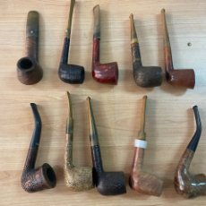 Pipas de fumar: LOTE DE 10 PIPAS DE MADERA DE DIFERENTES MARCAS. Lote 275506928