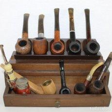 Pipas de fumar: COLECCIÓN DE 10 PIPAS CON SOPORTE EXPOSITOR Y CAJÓN. DISTINTAS MARCAS Y MODELOS.. Lote 277472953