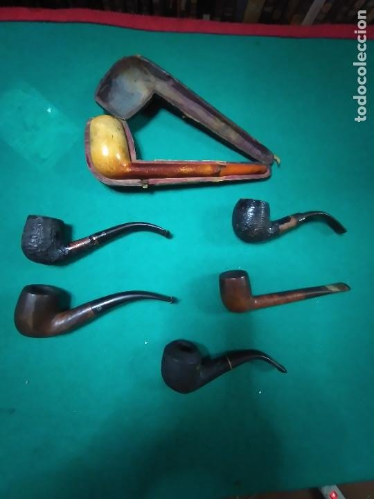 LOTE DE 6 ANTIGUAS PIPAS DE MADERA. (Coleccionismo - Objetos para Fumar - Pipas)