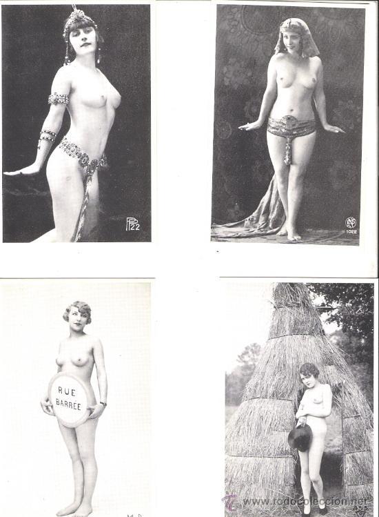 LOTE DE 4 POSTALES EROTICAS BLANCO Y NEGRO (Coleccionismo para Adultos - Postales Temáticas - Eróticas y Pin Ups)