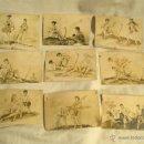 Postales: SERIE CROMOS ERÓTICO PORNO PIN UP, DIBUJADOS A MANO TECNICA GOUACHE, AÑOS 20. MED. 8 X 6 CM. Lote 46093532