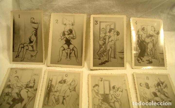 Postales: Serie completa 10 láminas dibujos erótico porno, originales años 20. Med 8,50 x 6 cm - Foto 2 - 131606098