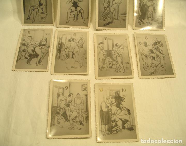 Postales: Serie completa 10 láminas dibujos erótico porno, originales años 20. Med 8,50 x 6 cm - Foto 3 - 131606098